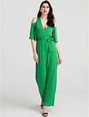 זול שמלות נשים-צווארון V רגל רחבה חלול חיצוני, אחיד - סרבלים כותנה מתוחכם חגים בגדי ריקוד נשים / אביב / קיץ / לגזור