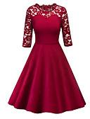 preiswerte Abendkleider-Damen Festtage A-Linie Kleid - Spitze Patchwork, Solide Knielang