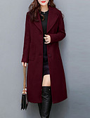 cheap Women's Coats & Trench Coats-Women's Going out Work / Street chic Plus Size Coat - Solid Colored / Fall / Winter