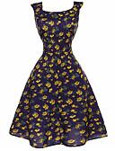 tanie Sukienki-Damskie Święto Vintage Linia A Sukienka - Kwiaty, Nadruk Do kolan