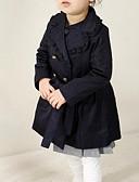 お買い得  女児ジャケット&コート-幼児 女の子 ストリートファッション 日常 ソリッド 長袖 ロング コットン トレンチコート ダークブルー