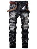 baratos Abrigos e Moletons Masculinos-Homens Moda de Rua Tamanhos Grandes Algodão Delgado Jeans Calças - Estampa Colorida Buraco