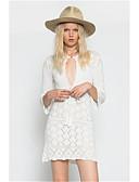 tanie T-shirt-Damskie Głęboki dekolt Biały Spódnica Cover Up Stroje kąpielowe - Solidne kolory Jeden rozmiar
