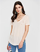 cheap Women's T-shirts-Women's Going out T-shirt - Solid Colored Criss-Cross / Summer / Lace up