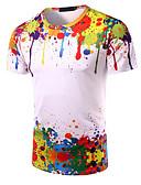 abordables Camisetas y Tops de Hombre-Hombre Chic de Calle Camiseta, Escote Redondo Arco iris / Manga Corta