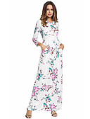 cheap Print Dresses-Women's Floral Daily Maxi Slim Sheath / Swing Dress - Floral High Waist Summer Cotton White Black Royal Blue L XL XXL