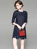 זול שמלות נשים-מעל הברך רקום, אחיד - שמלה גזרת A בסיסי בגדי ריקוד נשים