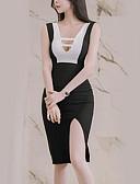 tanie Sukienki-Damskie Moda miejska Szczupła Spodnie - Kolorowy blok Czarny / W serek / Wyjściowe / Seksowny