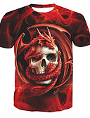 cheap Men's Tees & Tank Tops-Men's Basic Cotton T-shirt - Skull Print Round Neck / Short Sleeve
