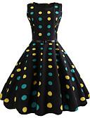 cheap Vintage Dresses-Women's Polka Dot Daily Going out Vintage Slim Swing Dress - Polka Dot Spring Cotton Black L XL XXL