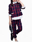 cheap Girls' Jackets & Coats-Kids Girls' Basic Plaid Long Sleeve Short Cotton Clothing Set