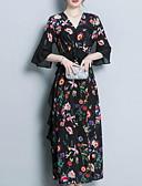 זול שמלות נשים-צווארון V מקסי דפוס, פרחוני - שמלה סווינג מידות גדולות בוהו חגים בגדי ריקוד נשים