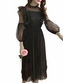 זול שמלות נשים-מידי תחרה, אחיד - שמלה נדן רזה סגנון רחוב בגדי ריקוד נשים / קיץ
