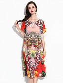 baratos Vestidos Femininos-Mulheres Tamanhos Grandes Feriado / Para Noite Moda de Rua / Sofisticado Seda Solto Evasê Vestido - Estampado, Floral Médio