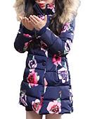 tanie Kurtki i płaszcze dla dziewczynek-Dzieci Dla dziewczynek Elegancka odzież Kwiaty Długi rękaw Regularny Poliester Odzież puchowa / pikowana Rumiany róż 140