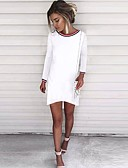 זול שמלות נשים-עד הברך / מעל הברך אחיד - שמלה ישרה משוחרר כותנה סגנון רחוב ליציאה בגדי ריקוד נשים / סקסית