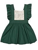 tanie Sukienki dla dziewczynek-Brzdąc Dla dziewczynek Aktywny Impreza / Codzienny Solidne kolory Cekiny Bez rękawów Bawełna / Poliester Sukienka Zielony 100 / Śłodkie