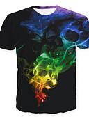 abordables Camisetas y Tops de Hombre-Hombre Calavera / Básico Tallas Grandes Estampado Camiseta, Escote Redondo Abstracto / Manga Corta
