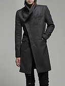 cheap Men's Jackets & Coats-Men's Basic Long Coat - Solid Colored, Oversized Stand / Long Sleeve