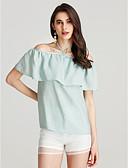 cheap Women's Blouses-Women's Cotton T-shirt - Solid Colored Off Shoulder / Choker