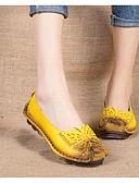 abordables Pijamas para Mujer-Mujer Zapatos Cuero Primavera / Otoño Confort Bailarinas Tacón Bajo Negro / Amarillo / Fucsia