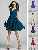 cheap Bridesmaid Dresses-A-Line V Neck Knee Length Georgette Bridesmaid Dress with Sash / Ribbon / Criss Cross / Ruched by LAN TING BRIDE®
