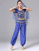 hesapli Göbek Dansı Giysileri-Göbek Dansı Kıyafetler Kadın's Performans Splandeks Nakış / Bakır Madeni Paralar Kısa Kollu Düşük Top / Pantalonlar / Bel Aksesuarları