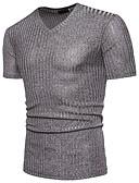 お買い得  メンズTシャツ&タンクトップ-男性用 Tシャツ ベーシック Vネック ソリッド コットン ブラック XL / 半袖 / 夏