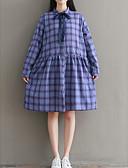 abordables Vestidos de Mujer-Mujer Corte Ancho Pantalones - A Cuadros Lazo / Estampado Azul Piscina / Cuello Camisero / Festivos