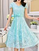 baratos Vestidos de Mulher-Mulheres Tamanhos Grandes Para Noite Bainha Vestido Sólido Decote V Cintura Alta Médio Azul