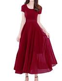 baratos Vestidos Longos-Mulheres Boho / Sofisticado Tamanhos Grandes Delgado Calças - Sólido Vermelho Vermelho / Decote U / Feriado