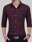 baratos Camisas Masculinas-Homens Camisa Social Básico Quadriculada