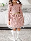 cheap Girls' Dresses-Girl's Daily Polka Dot Dress, Cotton Winter Spring Long Sleeves Lace Blushing Pink Navy Blue