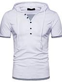 tanie Koszulki i tank topy męskie-T-shirt Męskie Moda miejska, Patchwork Kaptur Kolorowy blok / Krótki rękaw
