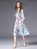 זול שמלות נשים-צווארון V מותניים גבוהים עד הברך פפיון / דפוס, פרחוני - שמלה גזרת A / שיפון רזה שרוול התלקחות מידות גדולות בגדי ריקוד נשים