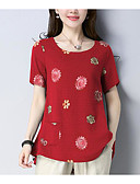 billige Damedunjakker og anorakker-Dame - Blomstret Trykt mønster Basale T-shirt