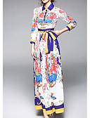 cheap Women's Dresses-Women's Daily Basic Maxi Swing Dress - Floral Print Shirt Collar Spring Rainbow L XL XXL