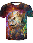cheap Men's Tees & Tank Tops-Men's Basic T-shirt - Animal Print Round Neck / Short Sleeve