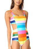 tanie Bikini i odzież kąpielowa-Damskie Pasek Niebieski Dół typu Cheeky Jednoczęściowy Stroje kąpielowe - Kolorowy blok / Tęczowy M L XL / Seksowny