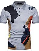billige T-skjorter og singleter til herrer-Bomull Skjortekrage Polo Herre - Fargeblokk Grunnleggende / Kortermet