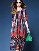 baratos Vestidos Femininos-Mulheres Para Noite Básico Solto Reto Vestido - Estampado, Geométrica Altura dos Joelhos