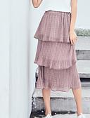 tanie Damska spódnica-Damskie Podstawowy Linia A Spódnice Solidne kolory Koronka