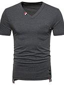 ieftine Maieu & Tricouri Bărbați-Bărbați În V Tricou Bumbac De Bază - Bloc Culoare Peteci / Manșon scurt