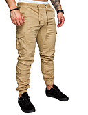 זול מכנסיים ושורטים לגברים-בגדי ריקוד גברים בסיסי מידות גדולות כותנה משוחרר צ'ינו מכנסיים - אחיד כחול נייבי / אביב / קיץ