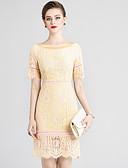 baratos Vestidos Femininos-Mulheres Básico / Temática Asiática Tubinho Vestido Sólido / Floral Acima do Joelho