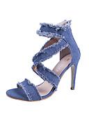 cheap Women's Skirts-Women's Shoes Denim Summer Cowboy / Western Boots Sandals Stiletto Heel Open Toe Dark Blue / Light Blue / Wedding / Party & Evening