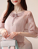 cheap Print Dresses-Women's Going out Blouse - Solid Colored V Neck
