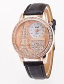 povoljno Kvarcni satovi-Žene Ručni satovi s mehanizmom za navijanje Diamond Watch Kvarc Koža Crna / Bijela / Plava Eiffelov toranj Velika kazaljka Analog dame Ležerne prilike Moda - Zelen Plava Pink