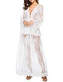 tanie Sukienki-Damskie Moda miejska Bawełna Spodnie - Solidne kolory Z marszczeniami Wysoka talia Biały / Maxi / Głęboki dekolt w serek / Święto / Seksowny