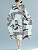 baratos Vestidos de Mulher-Mulheres Solto Reto Vestido Listrado Decote V Cintura Alta Médio